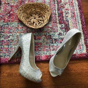 Aldo silver glittery peep toe high heels
